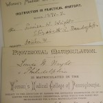 Louisa W. Wright's matriculation cards