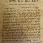 A Letter from Elias Hicks
